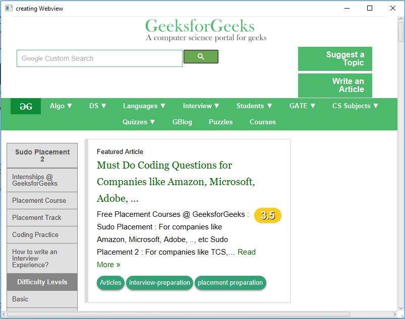 JavaFX   WebView Class - GeeksforGeeks
