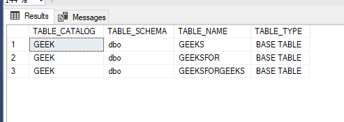 - 3 62 - How to Get the names of the table in SQL