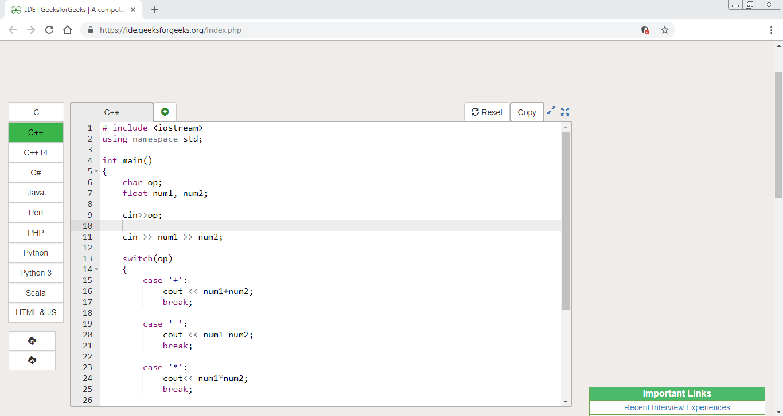 C/C++ program to make a simple calculator - GeeksforGeeks