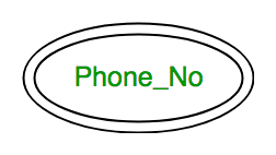 for example, phone_no (can be more than one for a given student)  in er  diagram, multivalued attribute is represented by double oval