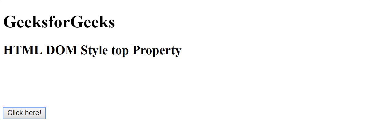 Html Dom Style Top Property Geeksforgeeks