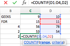 Excel VBA | count() functions - GeeksforGeeks