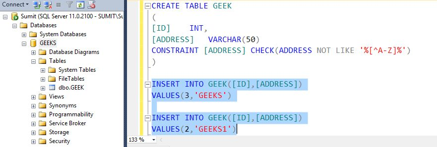 Allow only alphabets in column in SQL Server - GeeksforGeeks