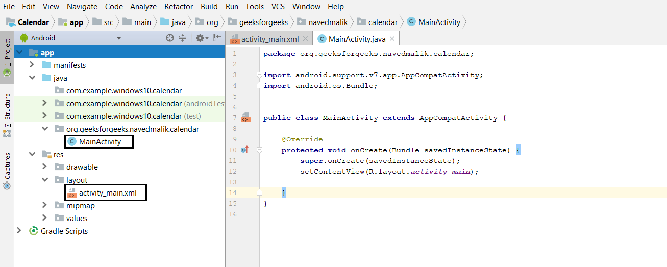 Android | Creating a Calendar View app - GeeksforGeeks