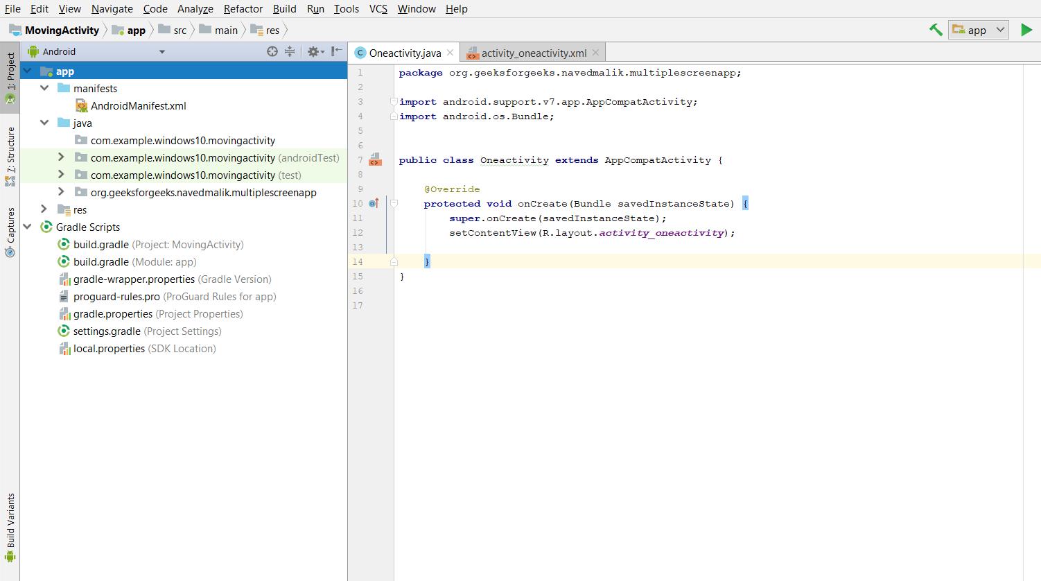 Android | Creating multiple Screen app - GeeksforGeeks