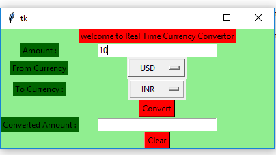 Python | Real time currency convertor using Tkinter - GeeksforGeeks