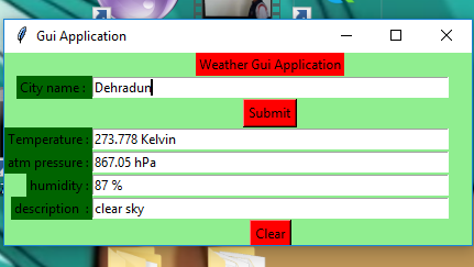 Python | Real time weather detection using Tkinter