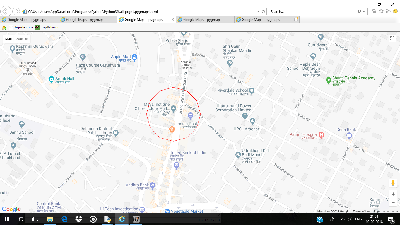 Python | Plotting Data on Google Map using pygmaps package