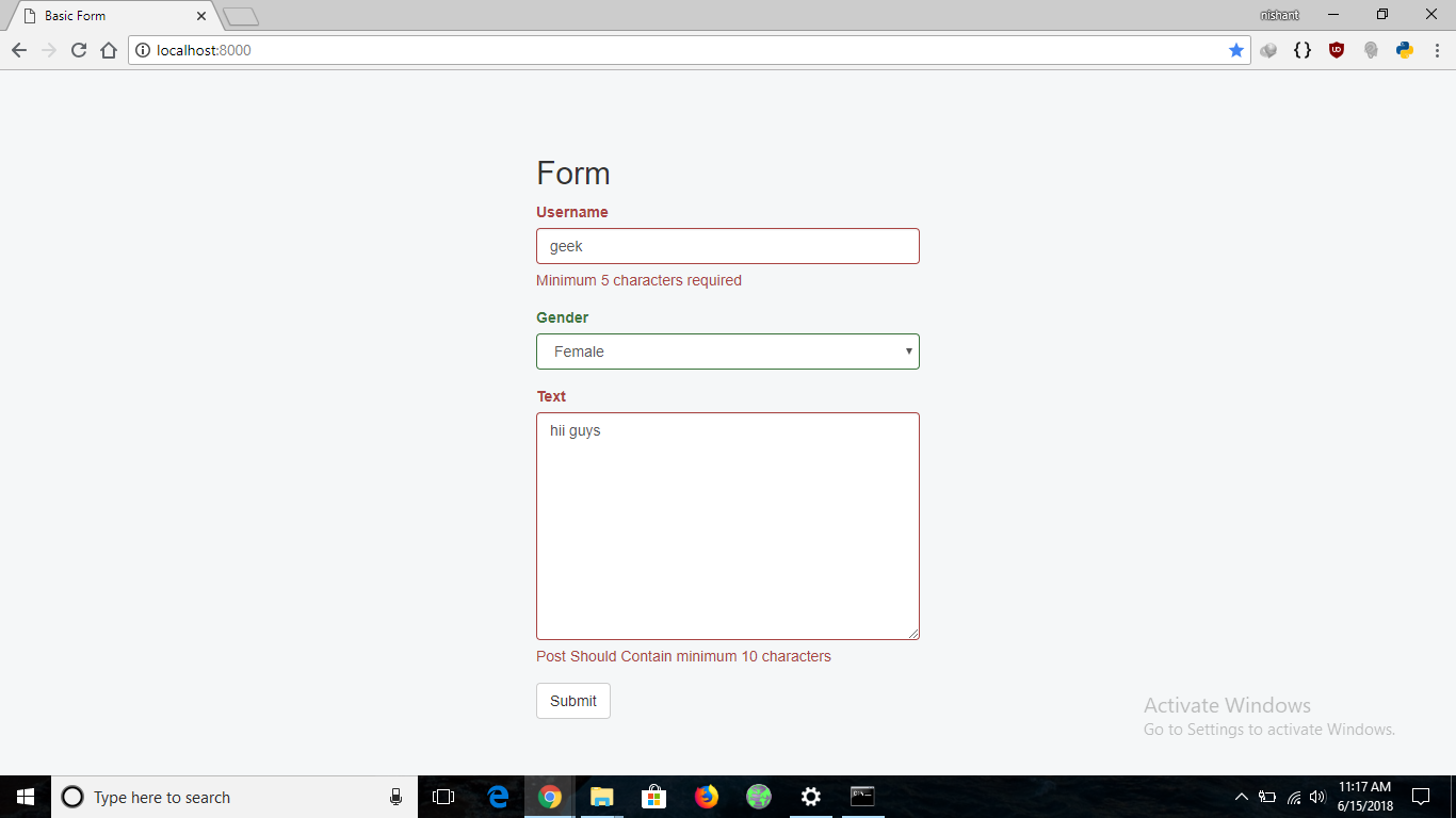 Python | Form validation using django - GeeksforGeeks