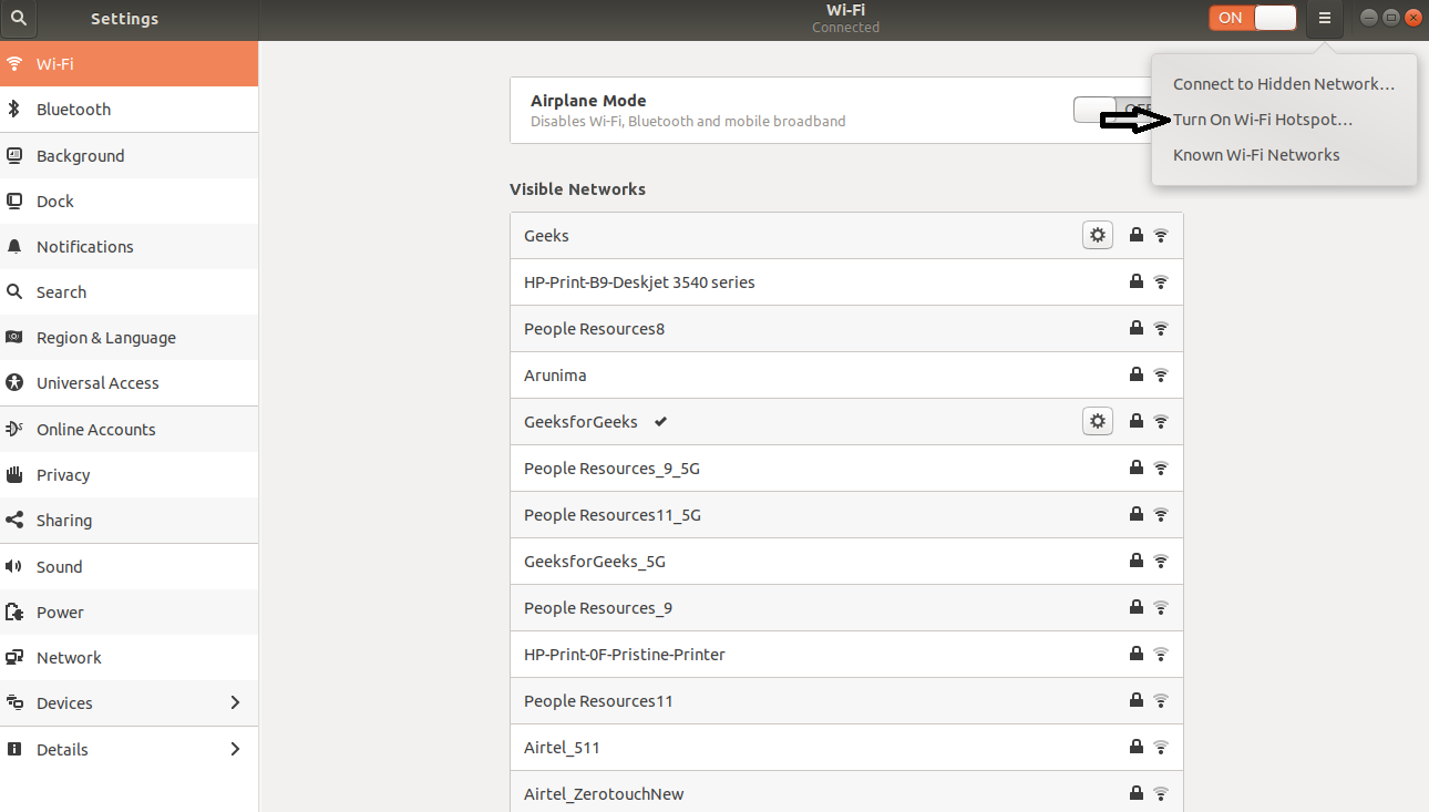 Creating and Configuring Wi-Fi Hotspot in Ubuntu - GeeksforGeeks