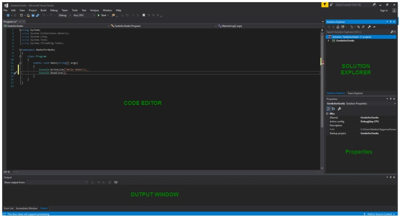 Introduction to Visual Studio - GeeksforGeeks