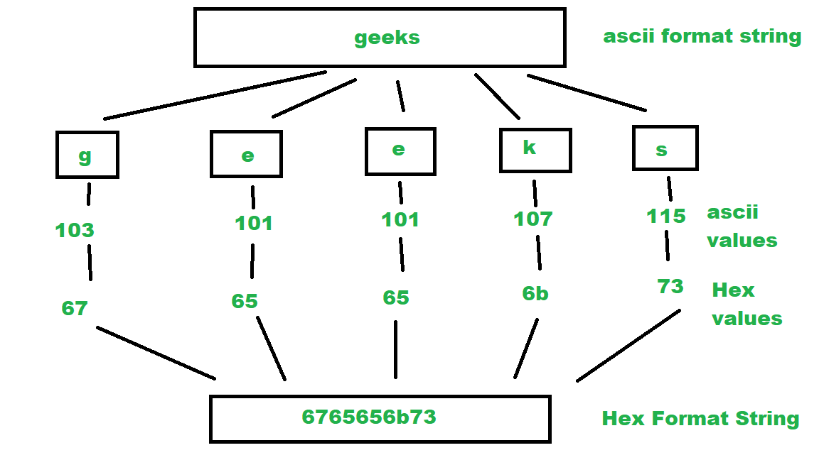 Convert a string to hexadecimal ASCII values - GeeksforGeeks