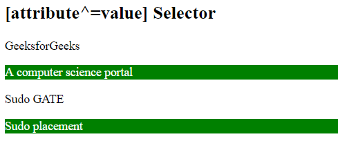 CSS attribute Selector example output gfg