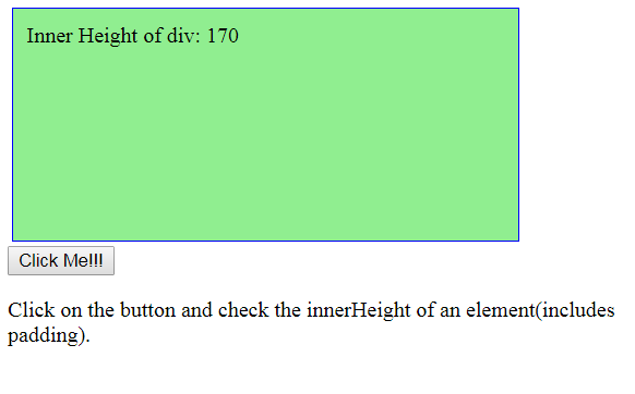 jQuery   height() and innerHeight() with Examples