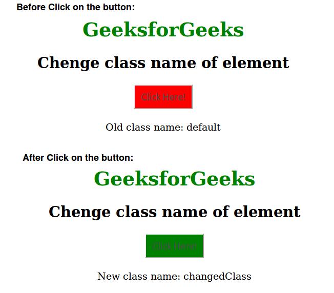 Change an element class JavaScript - GeeksforGeeks