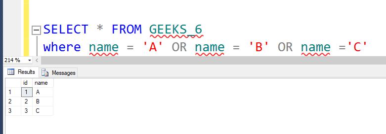 SQL SERVER   IN Condition - GeeksforGeeks