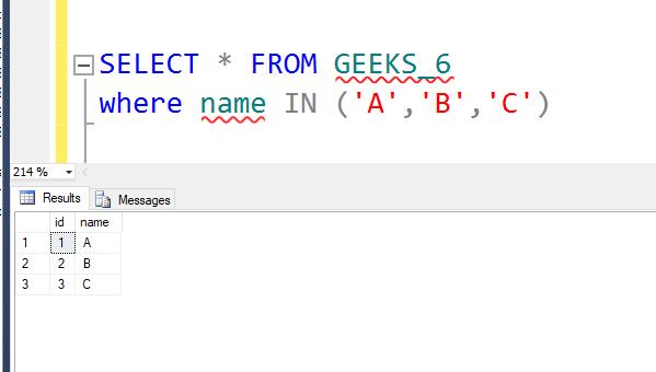 SQL SERVER | IN Condition - GeeksforGeeks