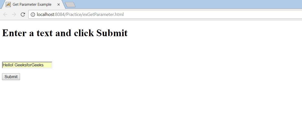 getParameter() - Passing data from client to JSP - GeeksforGeeks