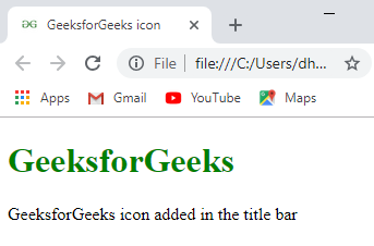 How to add icon logo in title bar using HTML ? - GeeksforGeeks