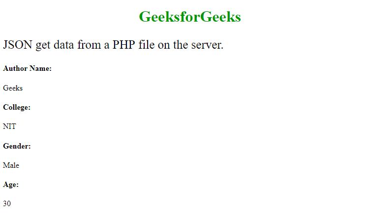 Javascript | JSON PHP - GeeksforGeeks