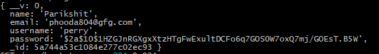 new user console logged into the terminal