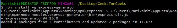 installing express-generator globally gfg