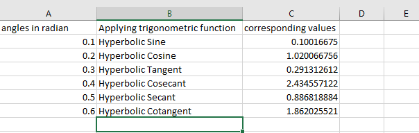 Python | Trigonometric operations in excel file using