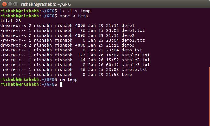 Piping In Unix Or Linux Geeksforgeeks