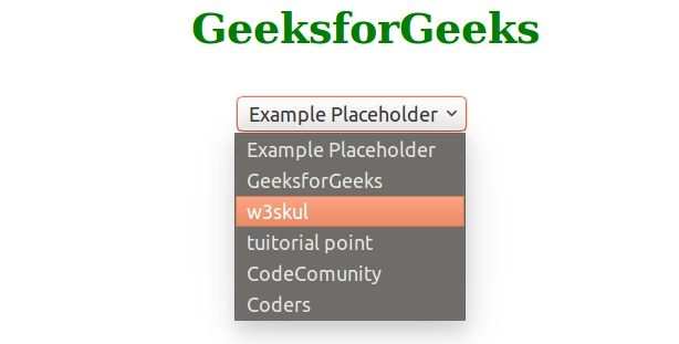 How to make a placeholder for a 'select' box? - GeeksforGeeks