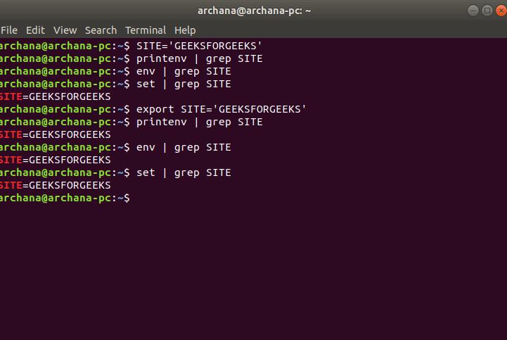 Environment Variables in Linux/Unix - GeeksforGeeks