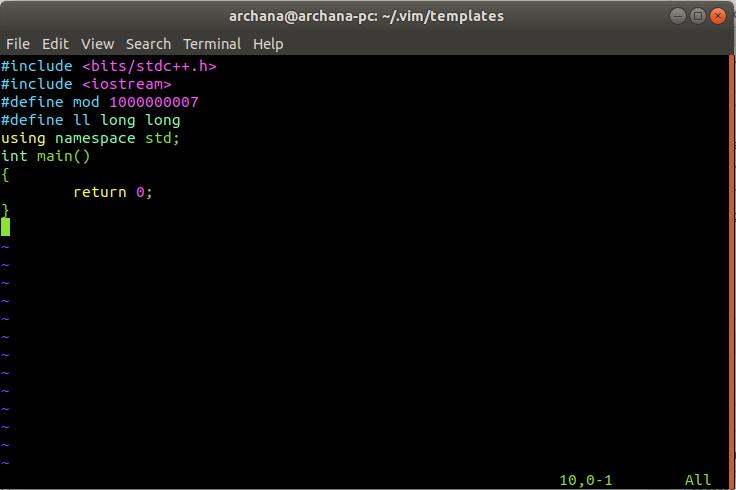 Creating a C++ template in vim in Linux - GeeksforGeeks