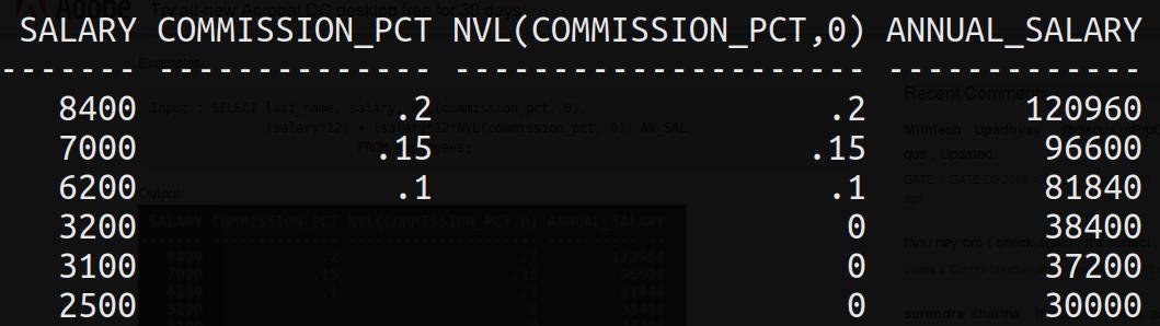 SQL general functions   NVL, NVL2, DECODE, COALESCE, NULLIF, LNNVL