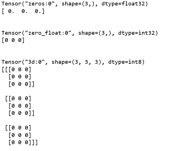 Python | Creating tensors using different functions in