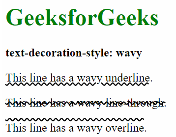 CSS | text-decoration-style Property - GeeksforGeeks