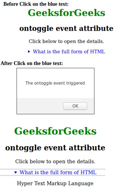 HTML | ontoggle Event Attribute - GeeksforGeeks