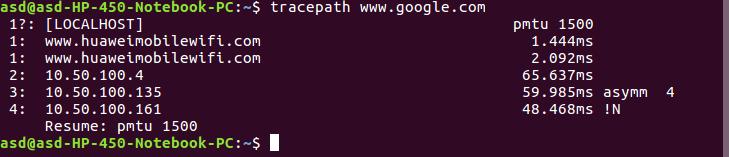 tracepath command