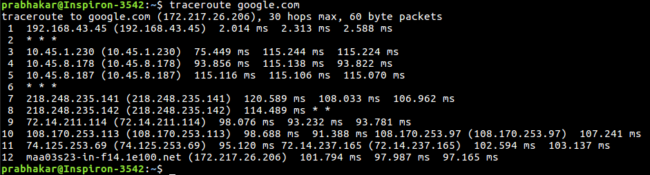 traceroute command in Linux with Examples - GeeksforGeeks