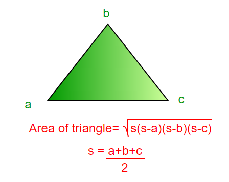 Program to find area of a triangle - GeeksforGeeks