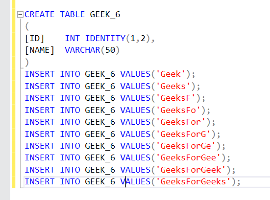 SQL Server Identity - GeeksforGeeks